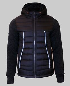 Superdry-Mens-New-Knitted-Quilted-Hoody-Full-Zip-Long-Sleeve-Storm-Hybrid-Black