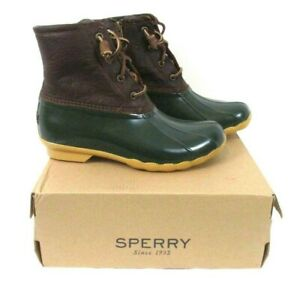 Sperry-Saltwater-Duck-Boots-Tan-Green-Sz-7-5-M-Leather-Uppers-Womens-BR7