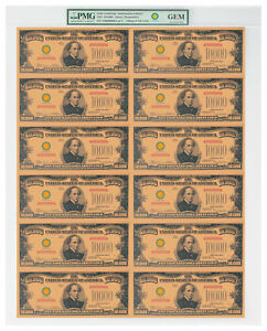 2018-10-000-Gold-Certificate-Smithsonian-Edition-1934-Sheet-PMG-GEM-SKU56414
