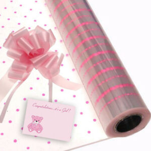 Pink Dot Baby Girl Cellophane Gift Wrap Baby Shower Free Pull Bow