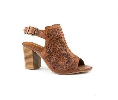 Roper Women's Size 10 Floral Tooled Fashion Open Toe Mule Leather Heel Sandal   eBay