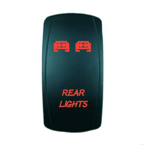 RED ROCKER SWITCH LASER ETCHED 20A 12V REAR LIGHTS