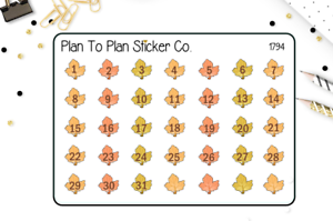 1794~~Fall Leaf Date Cover Planner Stickers.