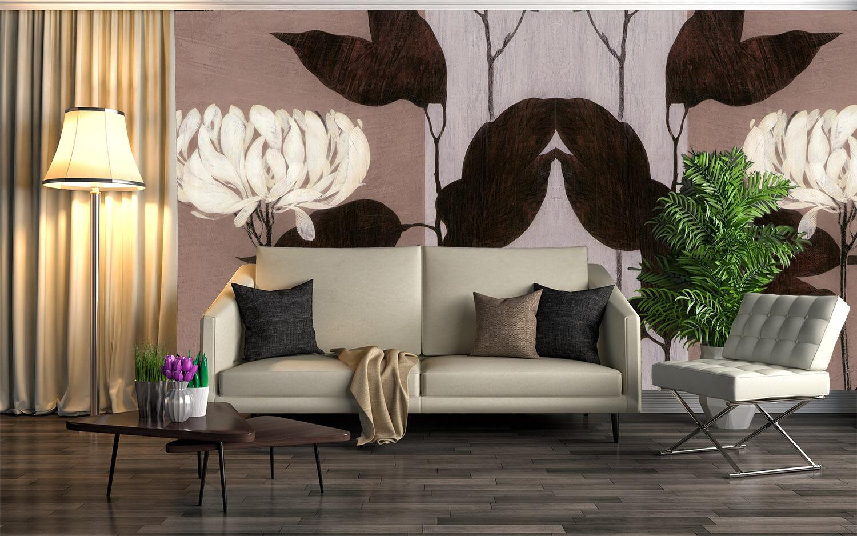 3D Weiße, Schwarze Blätter Fototapeten Wandbild Fototapete BildTapete Familie DE