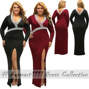 641a324fc3a00 Details about Formal Evening Plus Size Round Neck V Back Long Sleeve Front  Split Maxi Gown