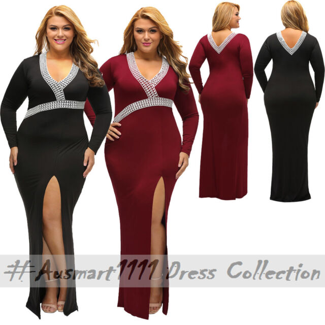 Formal Evening Plus Size Round Neck V Back Long Sleeve Front Split Maxi Gown