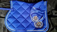 Fair Play Blue Royal Diamonds Close Contact Saddle Pad & Fly Veil Set Size Full