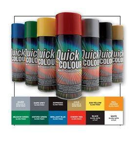 Details About Quick Colour Multi Purpose All Surface Spray Paint 400ml Satin Matt Gloss Finish