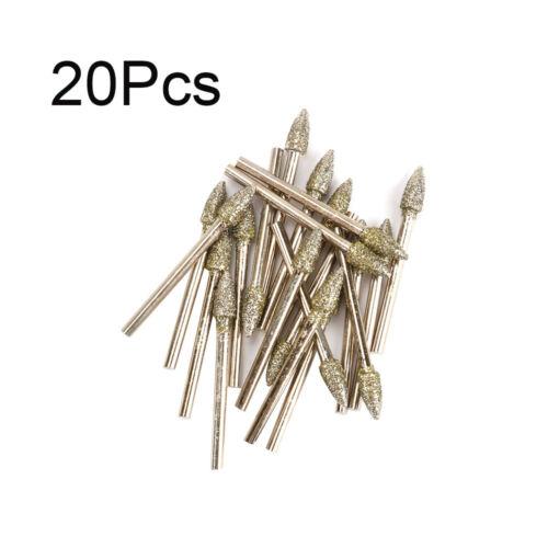 20Pcs Diamond Coated Grinding Head Gravure Abrasif Meules Cône Forme 3 mm tige
