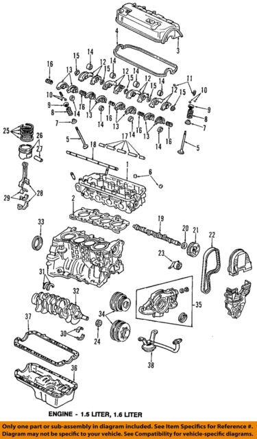 Honda OEM 92-95 Civic-engine Piston 13010p03010 for sale online   eBayeBay