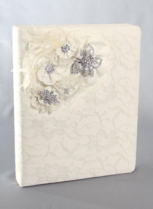 Genevieve Vintage Weiß Ivory Satin Pearl Rhinestone Wedding Memory Album