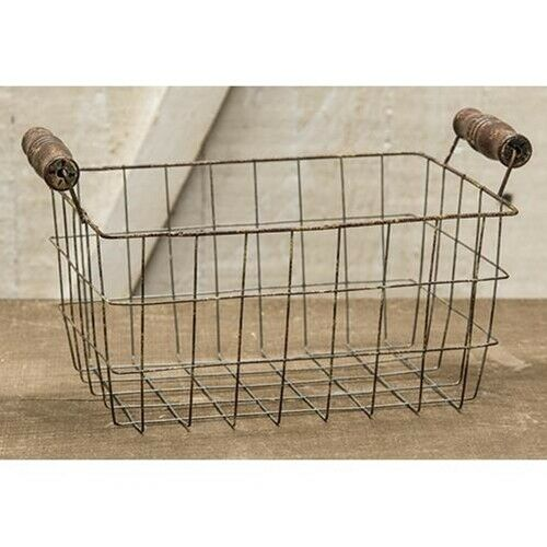 Rusty Wire Egg Gatherine Basket Primitive Farmhouse Decor
