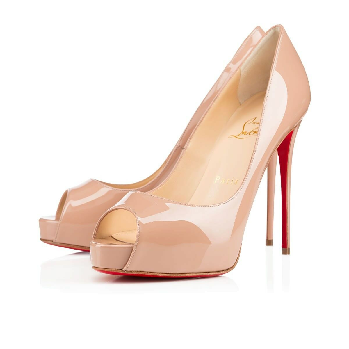 Christian Louboutin New Very Prive 150 Patent Leather Peep Toe Pumps Sz 41/11 US