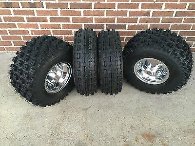4 NEW Honda TRX400EX/ TRX400X Polished Aluminum Rims & Slasher Tires Wheels kit