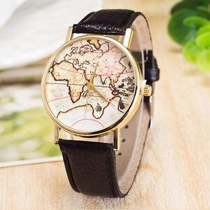 Luxury Women Stainless Steel Wrist Watch Analog Quartz World Map ...