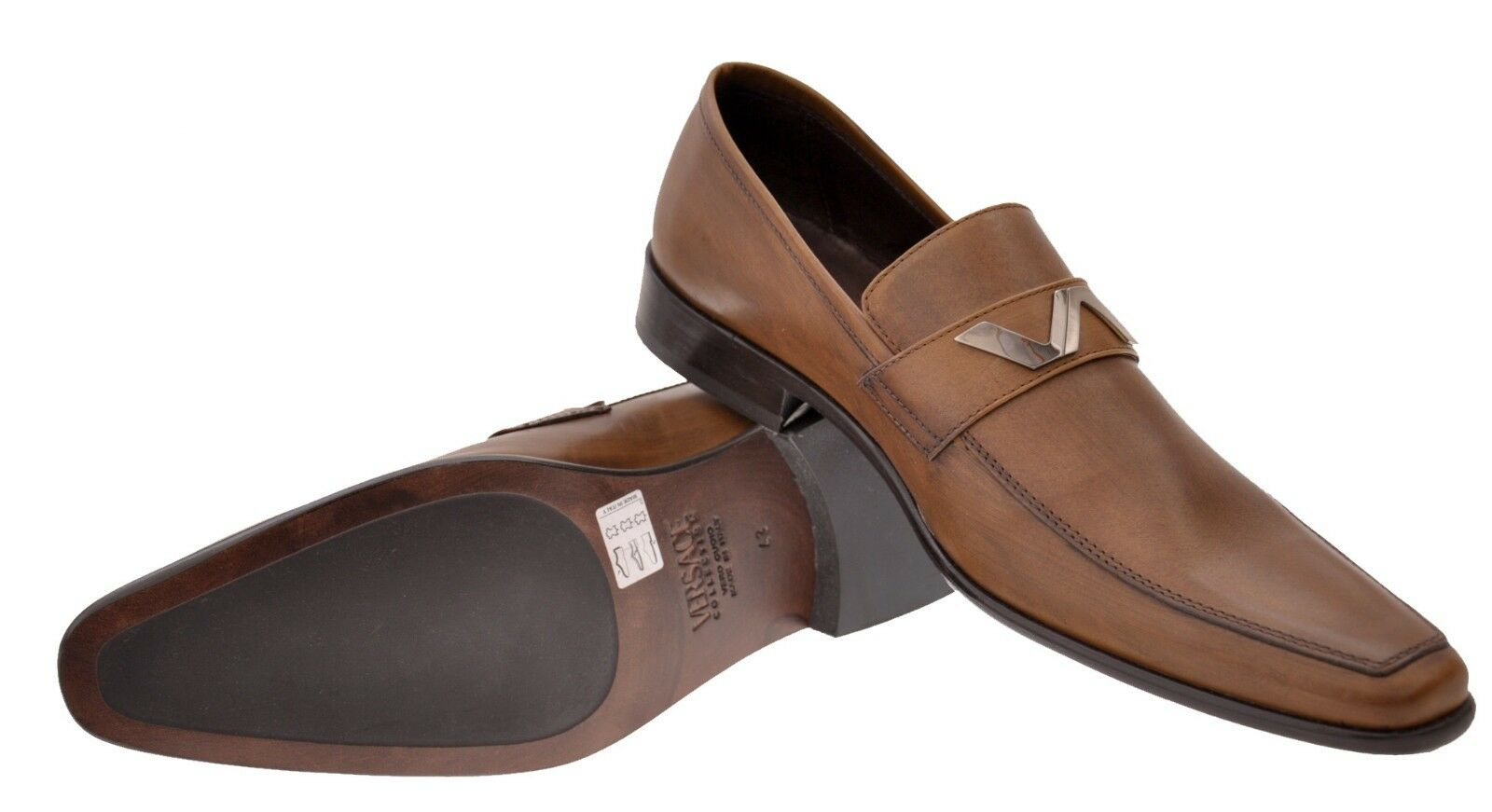 NEW VERSACE BROWN LEATHER SHOES LOAFERS 40 40 40 - 7 7c4dac