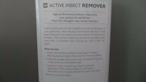 AUTOGLYM ACTIVE INSECT//BUG REMOVER DISSOLVES FROM VEHICLE PAINT PLASTIC /& GLASS