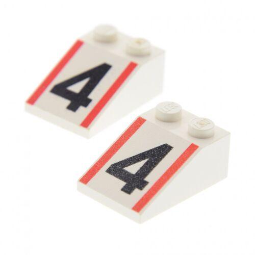 2 x Lego System Dachstein weiss 3x2 Nr 4 Streifen schräg Steine 6546 3298pb025