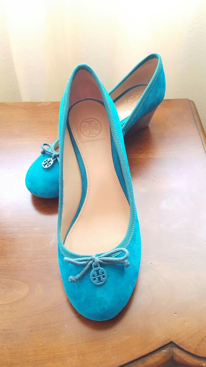 AUTH Tory Burch Donna Chelsea 45mm Soho Lux Suede Wedge Turquoise Shoes, sz 6,5.