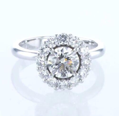 1.70 CT DIAMOND ENGAGEMENT RING G COLOR EGL CERT 18K WHITE GOLD 4.93 grTAX FREE