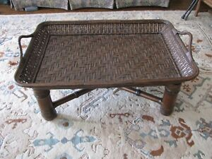 Ralph Lauren Coffee Table With Woven Rattan Tray On Wood