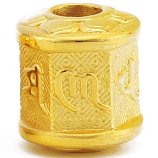 Pure 24k Yellow Gold Pendant 3D Luck Coin Money Bead 6-18mmW