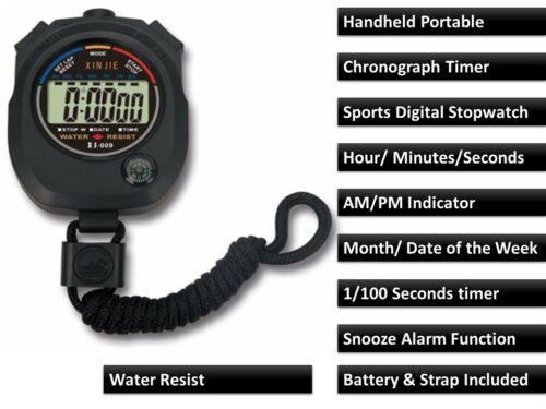 Digital Handheld Sports Chronomètre Chronomètre Minuteur Alarme Compteur Vendeur Britannique