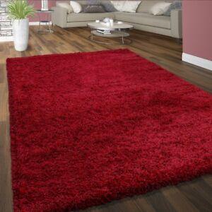 Tapis-Shaggy-Poils-Hauts-Confortable-Doux-Poils-Longs-Moderne-Uni-Coloris-Rouge