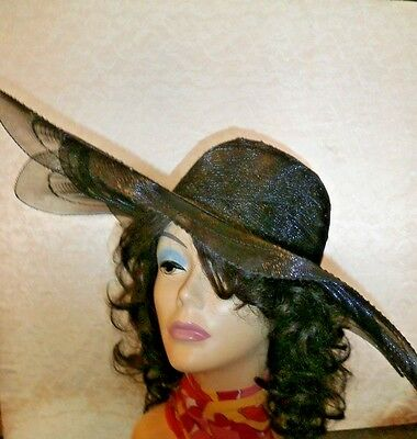 "SCALLOPED WIDE BRIM SHEER HAT SIZE  22 1//2/"" Circumferen MEAS  21/"" ACROSS"