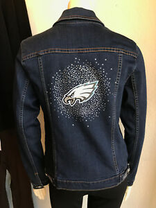 sports shoes 65c10 9277e Details about EAGLES NFL Womens Blinged Jean Jacket NWT $180 SM-4X