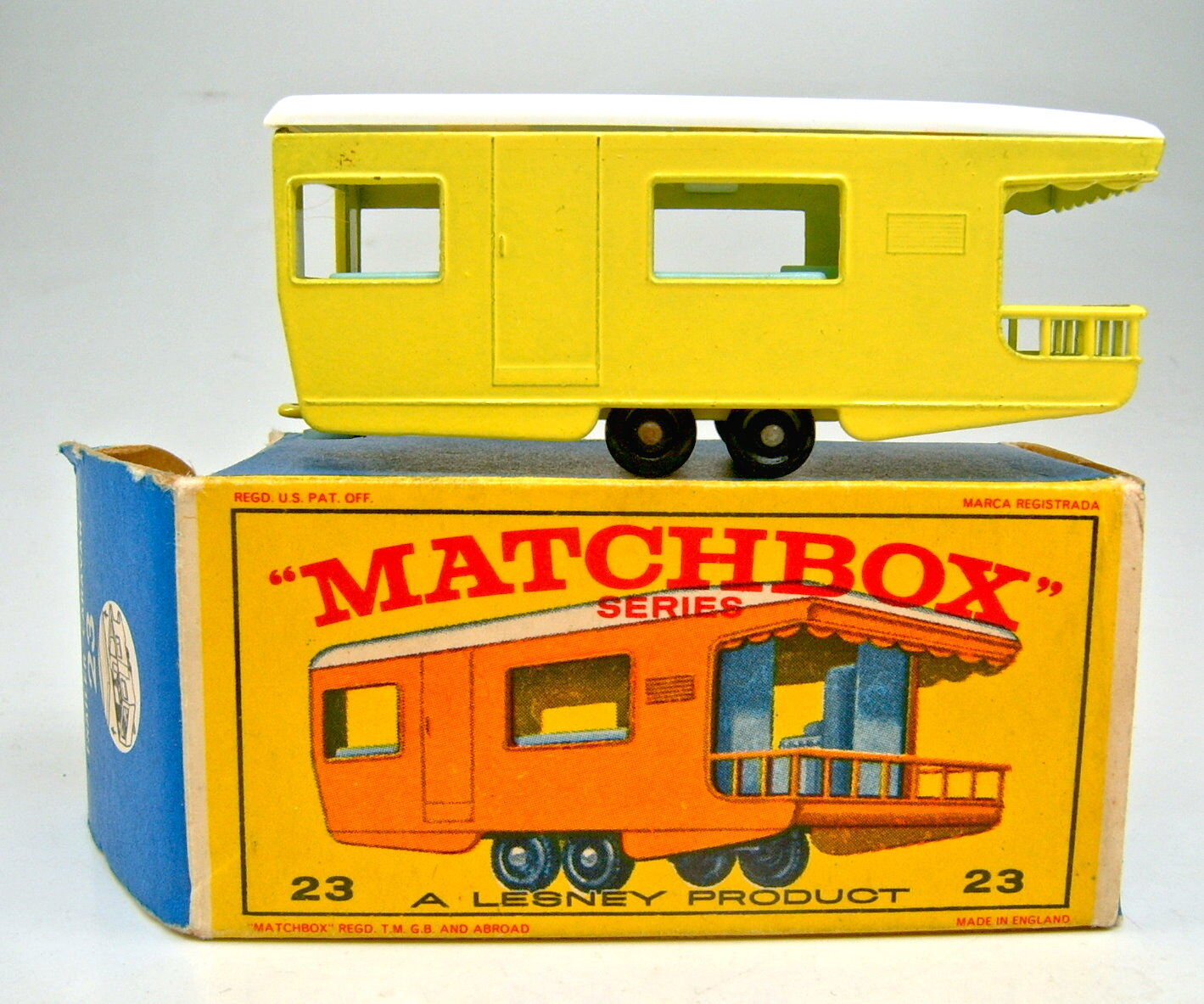 Matchbox Rw 23d Trailer Caravan 1. Colour Yellow in earlier  e1  Box With Yellow Figure