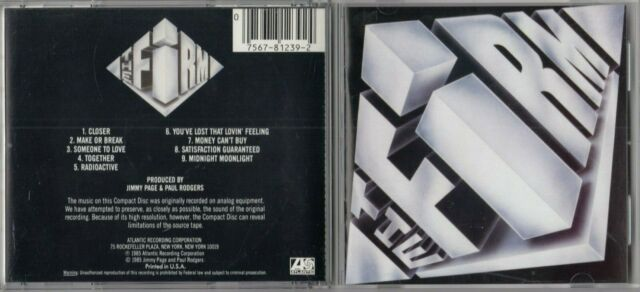 The Firm by the firm (Rock) (CD, 1985, Atlantic (Label)) JIMMY PAGE PAUL RODGERS