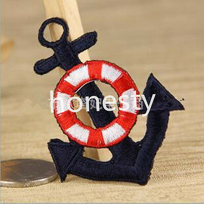 Navy wind anchor Sew Embroidery Iron On Patch Badge Embroidered Fabric Applique
