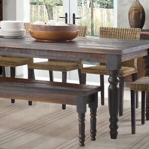 Rustic Dining Table Bench ONLY Farmhouse Kitchen Solid Wood Seat Distressed F