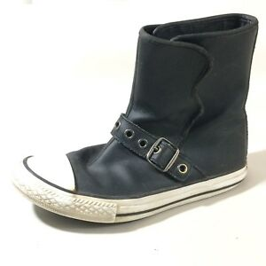 358b05a6a414 CONVERSE All Star Chuck Taylor Girls 3 Youth Black Leather High Top ...