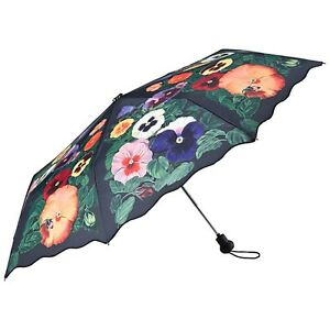 Reiseaccessoires Taschenschirm Damen Blumen Motiv Uv Schutz Frühling Bunt Stiefmütterchen 5720t Reinweiß Und LichtdurchläSsig