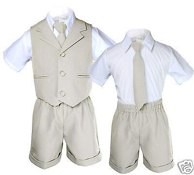 Boys Infant & Toddler Formal Vest Shorts Suit Outfits S M L XL 2T-4T Light Khaki