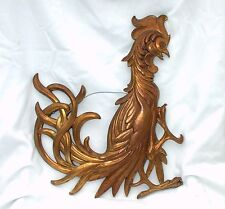 Vintage Syroco Rooster Fighting Attacking Cock Wall Hanging Decoration