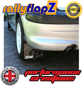 Rally-style-Mudflaps-PEUGEOT-206-GTi-Mud-Flaps-Qty4-4mm-PVC-Black-Logo-White