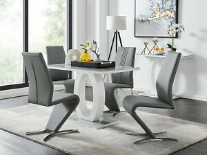 Giovani Grey White High Gloss Glass Dining Table Set 4 Leather Chairs Ebay