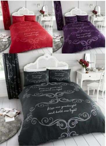 Goodnight Kiss Me Hold Tight Duvet Quilt Cover Polycotton Printed Bedding Set