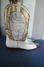 donald pliner hand made  western cowboy boots SHOES Sz 10 m,LEATHER white gold
