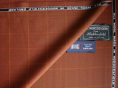 100%PURE NEW WOOL COUNTRY SPORTING CLASSIC WINDOWPANE DESIGN SUITING FABRIC 3.5m