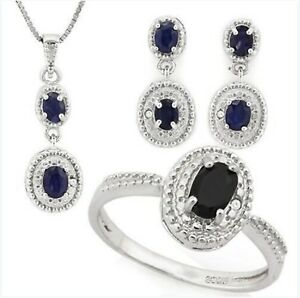 TANZANITE  /& DIAMOND SILVER NECKLACE /& EARRING SET 2.5 CWT EARTH MINED