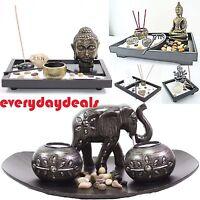 Tabletop Incense Burner Gifts & Decor Zen Garden Kit W/ Statue Candle Holder