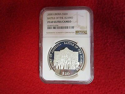 2000 Liberia S$20 Battle Of The Alamo  NGC PF69UC  Blast White        War