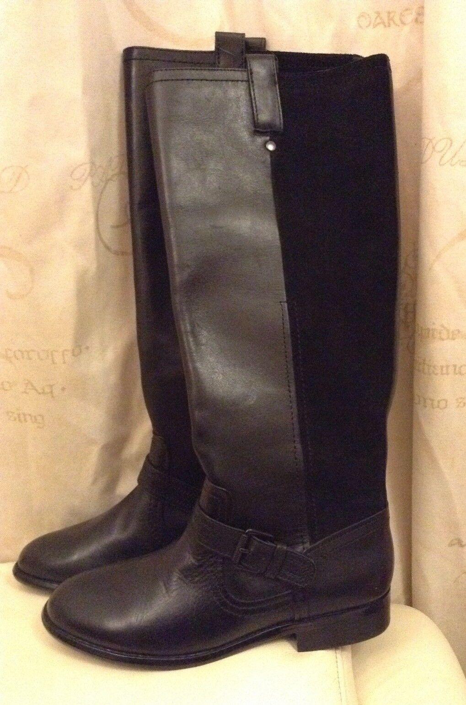 Nuevo  siguiente  (39 EU) Gamuza Cuero Negro Tacón Bajo Plano botas de Longitud de la rodilla