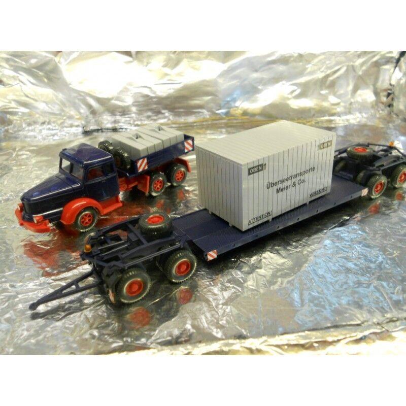 Wiking 08513649 Heavy Hauler + Low Loader Trailer + Cargo Load 1 87 HO Scale