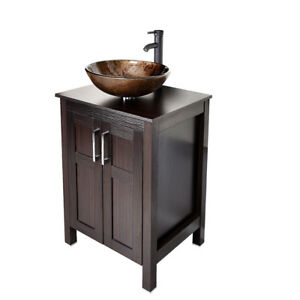 Image is loading Bathroom-Floor-Vanity-Cabinet-24-039-039-Single-  sc 1 st  eBay & Bathroom Floor Vanity Cabinet 24u0027u0027 Single Glass Vessel Sink Faucet ...
