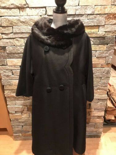 EUC Vintage 1960s Jay Thorpe Black Wool Swing Coat